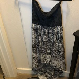 Strapless high-low grey and black leopard dress